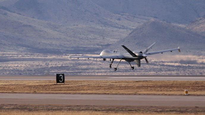 A Predator drone operated by U.S. Office of Air and Marine (OAM), takes off for a surveillance flight near the Mexican border.(AFP Photo / John Moore)