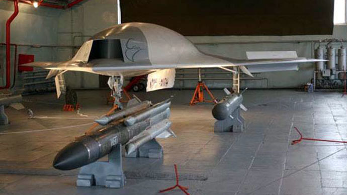 "An early prototype model of MiG's ""Skat"" unmanned aerial vehicle (Photo from wikimedia.org)"