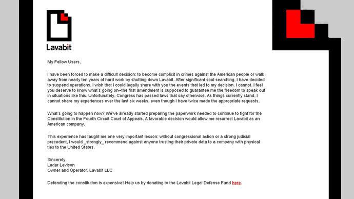 Lavabit founder launches appeal against website closure
