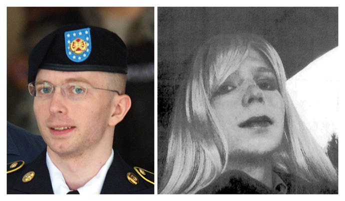 These two file photos show US Army Private First Class Bradley Manning (L) leaving a military court facility on July 30, 2013 in Fort Meade, Maryland; and at right in an undated photo courtesy of the US Army showing Bradley Manning in wig and make-up (AFP Photo/ Files / Saul Loeb (L) / US Army (R)