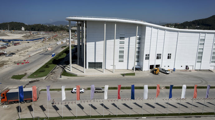 Completing construction of the main media center in the Olympic Park in Sochi.(RIA Novosti / Mihail Mokrushin)