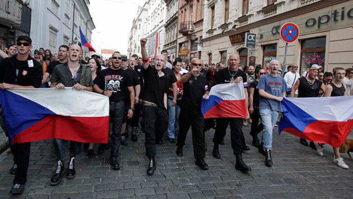 Far-right Czech activists shout as they march in protest against the Roma minority in Plzen August 24, 2013. (Reuters / David W Cerny)