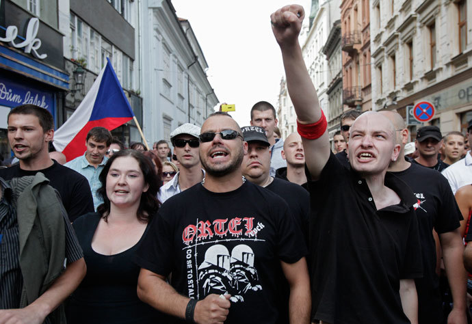 POL VIOFar-right Czech activists shout as they march in protest against the Roma minority in Plzen August 24, 2013.(Reuters / David W Cerny)