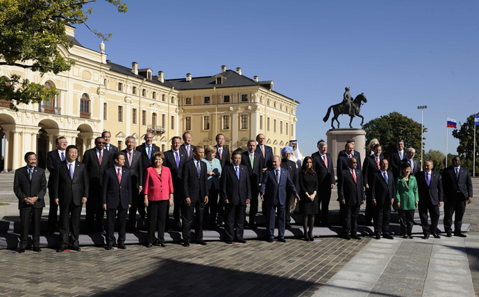 The family photo during the G20 summit on September 6, 2013 in Saint Petersburg (AFP Photo)