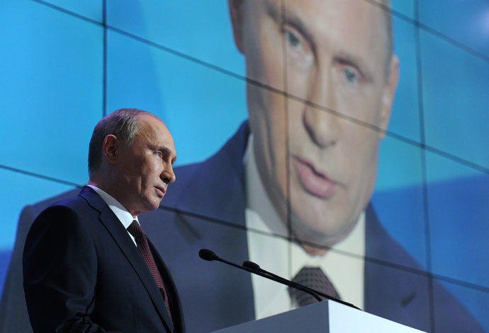 Russian President Vladimir Putin attending the tenth anniversary meeting of Valdai International Discussion Club in the Novgorod Region, September 19, 2013.(RIA Novosti / Michael Klimentyev)