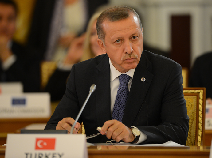 Turkey's Prime Minister Recep Tayyip Erdogan attends a working meeting of the G20 summit of heads of state and government, heads of invited states and international organizations in Saint Petersburg (AFP Photo)