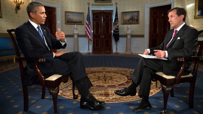 """U.S. President Barack Obama participates in an interview with Chris Wallace (R), anchor of """"Fox News Sunday"""", in the Blue Room of the White House in Washington September 9, 2013.(Reuters / Pete Souza)"""