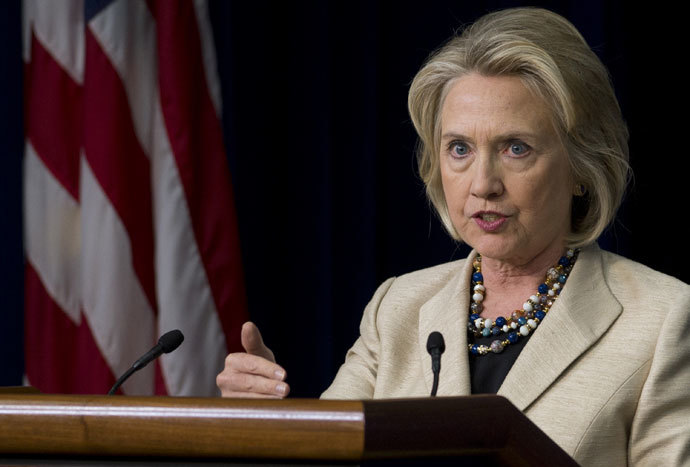 Former US Secretary of State Hillary Clinton speaks about the situation in Syria after meeting with US President Barack Obama at the Eisenhower Executive Office Building in Washington, DC on September 9, 2013.(AFP Photo / Saul Loeb)