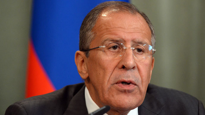 Russian Foreign Minister Sergei Lavrov gives a press conference with his Syrian counterpart on September 9, 2013 following a meeting in Moscow. (AFP Photo / Yuri Kadobnov)