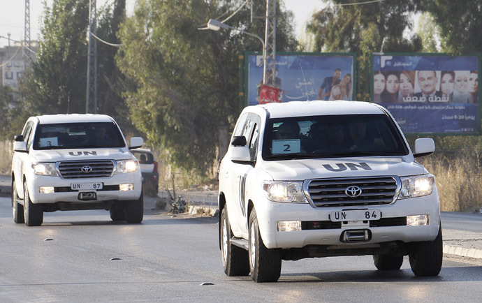 A United Nations vehicle is seen at the Masnaa border crossing on the Lebanon-Syria border (AFP Photo)