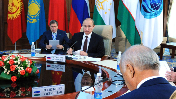 Russian President Vladimir Putin (C) at the 13th Summit of the Shanghai Cooperation Organisation (SCO) in Bishkek. (RIA Novosti/Michael Klimentyev)