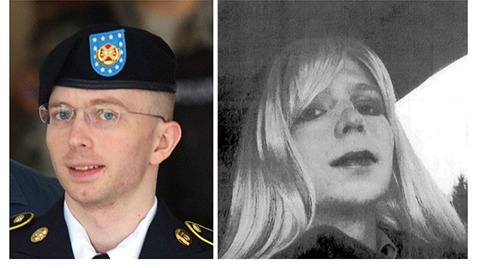 These two file photos show US Army Private First Class Bradley Manning (L) leaving a military court facility on July 30, 2013 in Fort Meade, Maryland; and at right in an undated photo courtesy of the US Army showing Bradley Manning in wig and make-up. (AFP Photo)