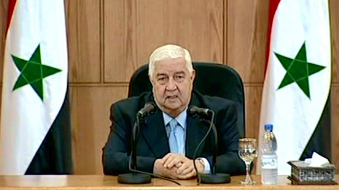 A handout picture released by the Syrian Arab News Agency (SANA) on June 24, 2013, shows Syrian Foreign Minister Walid Muallem speaking during a televised press conference in the capital Damascus. (AFP Photo)