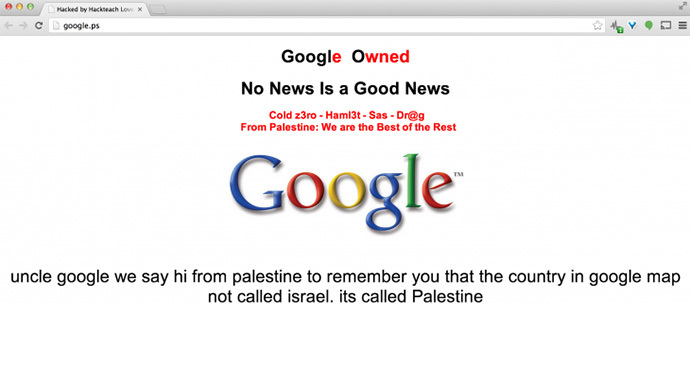 Hackers deface Google Palestine, demand Israel removed from maps