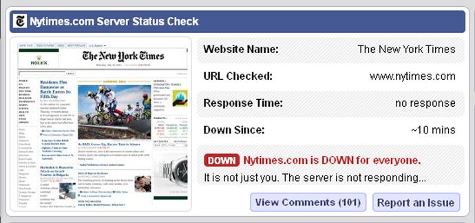screenshot from www.isitdownrightnow.com