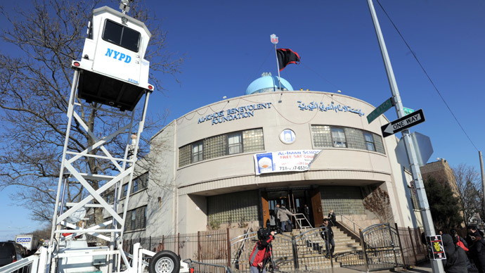 A New York Police Department portable observation post outside the Imam Al-Khoei Islamic Center  in the Queens borough of New York (AFP Photo/Stan Honda)