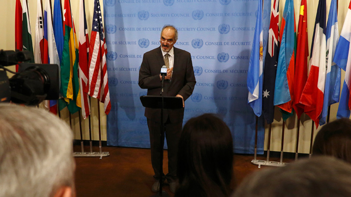 Syrian Ambassador to the United Nations Bashar Jaafari addresses the media at the United Nations Headquarters in New York August 28, 2013 (Reuters / Brendan McDermid)