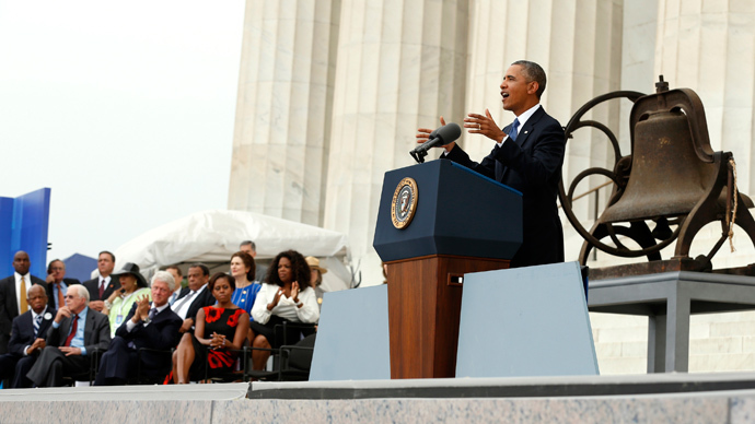 "U.S. President Barack Obama speaks from the steps of the Lincoln Memorial during the commemoration of the 50th anniversary of the March on Washington and Reverend Martin Luther King Jr.'s ""I have a dream"" speech in Washington August 28, 2013 (Reuters / Kevin Lamarque)"