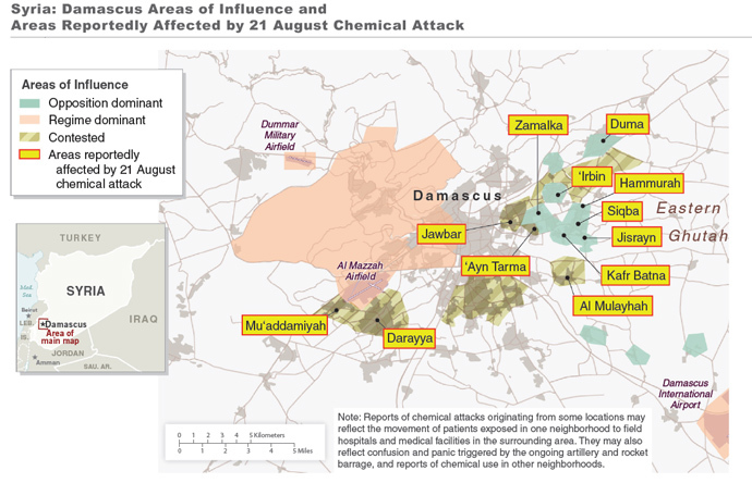 The White House also released a map of Ghouta, displaying the areas affected by the Aug. 21 chemical weapons attack