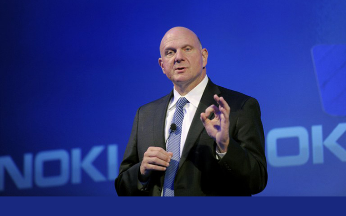 Microsoft CEO Steve Ballmer speaks during the press conference of the Finnish mobile manufacturer Nokia in Espoo on September 3, 2013. (AFP Photo / Markku Ulander)