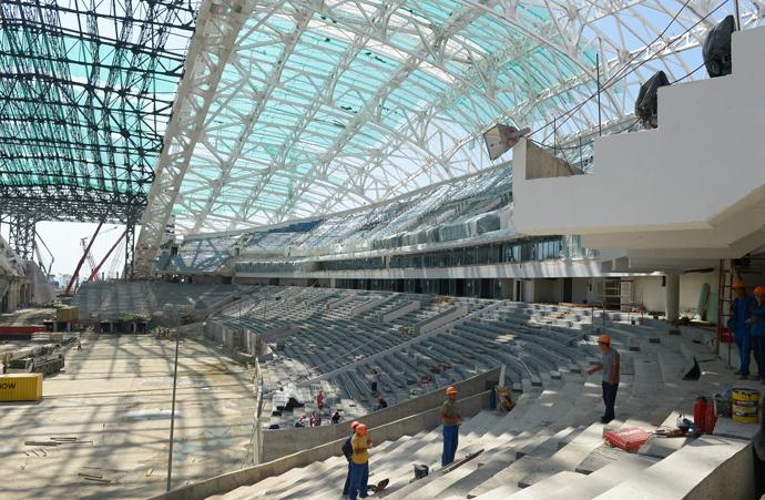 The construction of the Fisht Olympic Stadium in the Olympic Park, Imereti Valley, Sochi (RIA Novosti / Grigoriy Sokolov)