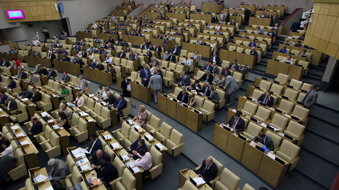 The State Duma's assembly hall. (RIA Novosti/Ruslan Krivobok)
