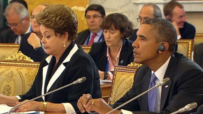 Brazil's President Dilma Rousseff and US President Barack Obama (Still from RT video)