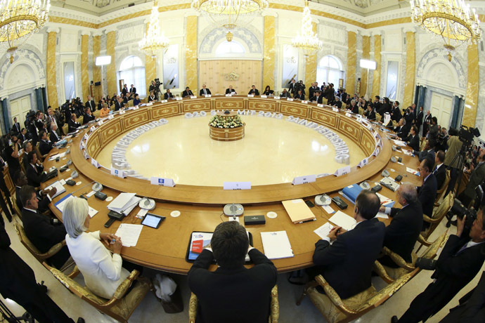 General view of the first working session of the G20 summit on September 5, 2013 in Saint Petersburg. (AFP Photo)