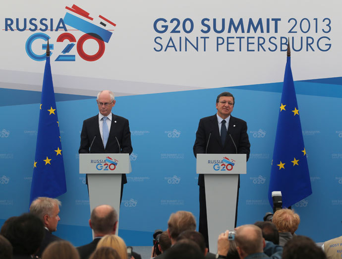 European Council President Herman Van Rompuy (L) and European Commission President Jose Manuel Barroso attend a briefing at the G20 Summit in St. Petersburg September 5, 2013.(Reuters / Mikhail Kireev)