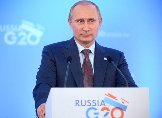 President of the Russian Federation Vladimir Putin at a news conference on the outcome of the G20 Leaders' Summit (RIA Novosti / Alexei Druzhinin)