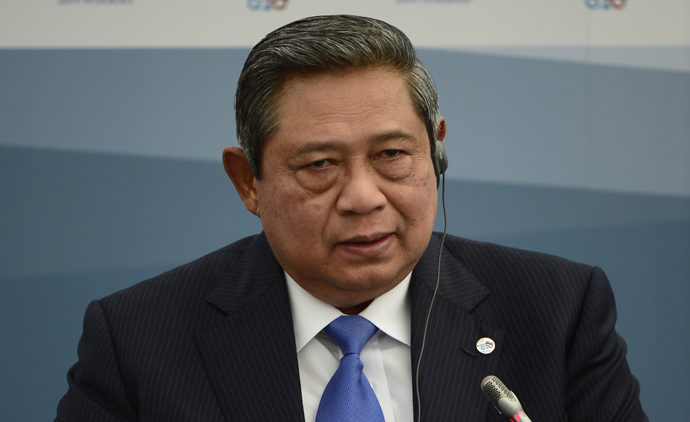 Indonesia's President Susilo Bambang Yudhoyono attends a meeting with Business 20 and Labour 20 representatives during the G20 summit on September 6, 2013 in Saint Petersburg (AFP Photo / Eric Feferberg)