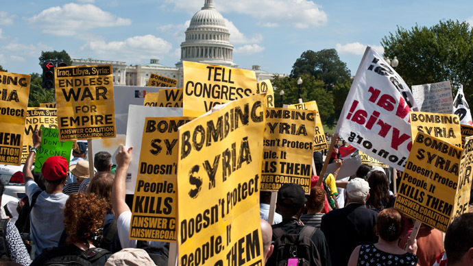 'We say no war': Protesters across the world rally against military strike on Syria