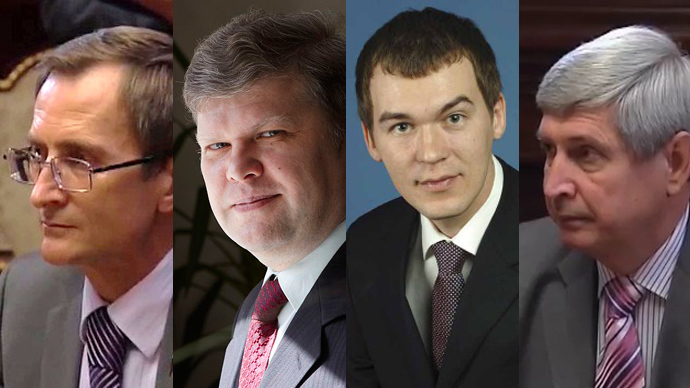 (L-R) Just Russia's Nikolay Levichev, Yabloko party chairman Sergey Mitrokhin, Liberal-Democrat Mikhail Degtyarev and Communist Ivan Melnikov