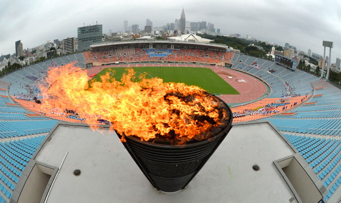 The National Stadium in Tokyo, which was used for the 1964 Tokyo Olympics. An event was held here in celebration after Tokyo was chosen to host the 2020 Olympic Games. Photo taken by Kyodo September 8, 2013 (Reuters / Kyodo)