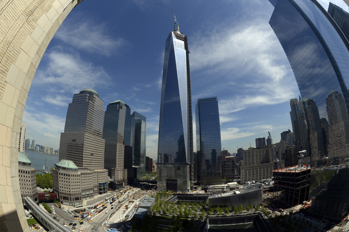 The final section of the spire sits on top of One World Trade Center on May 10, 2013 in New York after it was fully installed on the building's roof (AFP Photo / Timothy A. Clary)