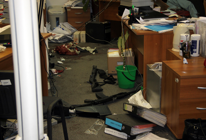 The office of the company where its staff member, lawyer Dmitry Vinogradov, shot dead five co-workers (RIA Novosti)