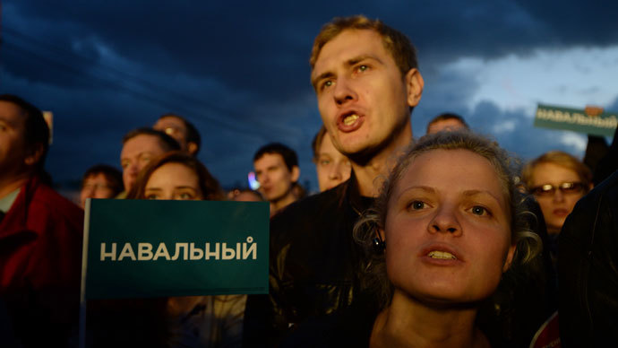 Supporters of opposition leader Alexei Navalny during a rally on Bolotnaya Square.(RIA Novosti / Maxim Blinov)