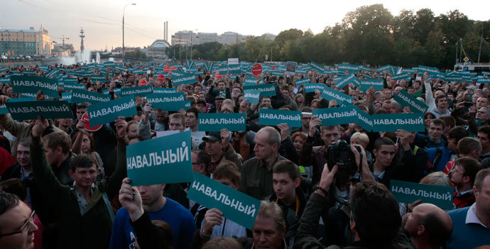 Supporters of Russian opposition leader Alexei Navalny attend a rally in Moscow, September 9, 2013.(Reuters / Tatyana Makeyeva)