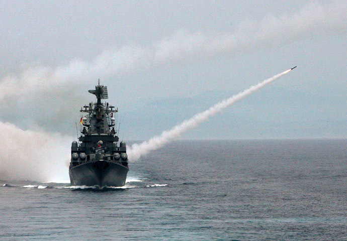 "Missile cruiser ""Moskva"" belonging to Russia's Black Sea Fleet firing anti-aircraft missiles during joint drills with other fleets. (RIA Novosti/Vitaliy Ankov)"