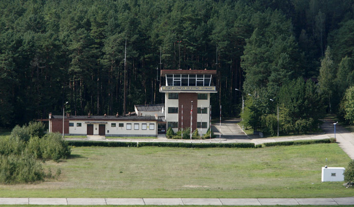 An aerial view shows a watch tower of an airport in Szymany, close to Szczytno in northeastern Poland, September 9, 2008. The European Union, human watchdogs, domestic and foreign media identified the airport as a potential site which the CIA used to transfer al Qaeda suspects to a nearby prison. (Reuters/Kacper Pempel)