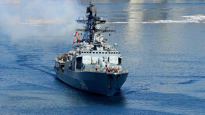"Pacific Fleet's large anti-submarine ship ""Admiral Panteleyev"" (RIA Novosti/Ildus Gilyazutdinov)"