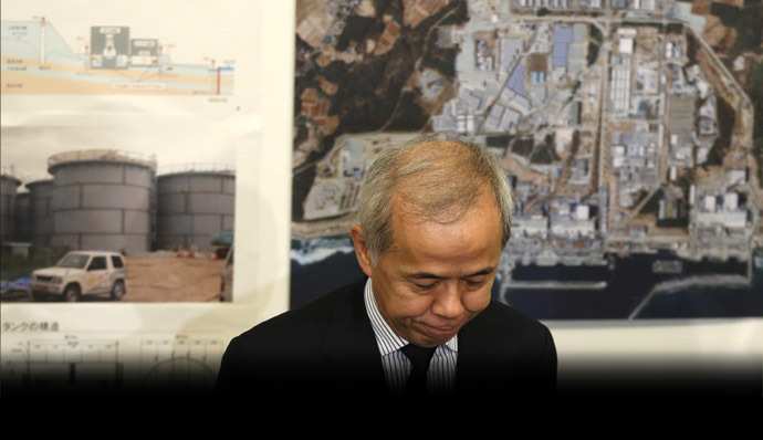 TEPCO President Naomi Hirose after a meeting of the Contaminated Water and Tank Countermeasures Headquarters, at TEPCO headquarters in Tokyo September 13, 2013. (Reuters/Toru Hanai)