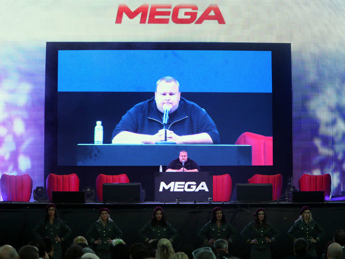 Megaupload founder Kim Dotcom speaks during the launch of his new website at a press conference at his mansion in Auckland on January 20, 2013.(AFP Photo / Michael Bradley)