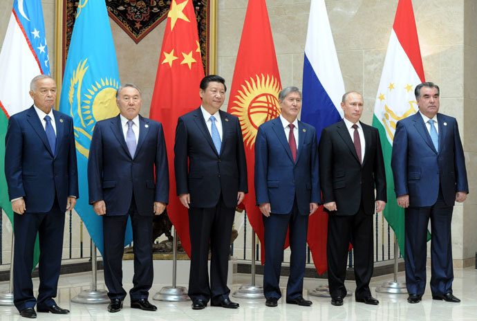 September 13, 2013. President of Uzbekistan Islam Karimov, President of Kazakhstan Nursultan Nazarbayev, President of China Xi Jinping, President of Kyrgyzstan Almazbek Atambayev, President of RUssia Vladimir Putin and President of Tajikistan Emomali Rahmon (left to right) at the official group photo before a meeting of the SCO Council of Heads of State in Bishkek.(RIA Novosti / Michael Klimentyev)