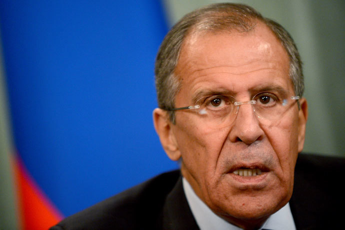 Russian Foreign Minister Sergei Lavrov speaks in Moscow, on September 16, 2013, during a joint press conference with his Egyptian counterpart Nabily Fahmy.(Vasily Maximov)