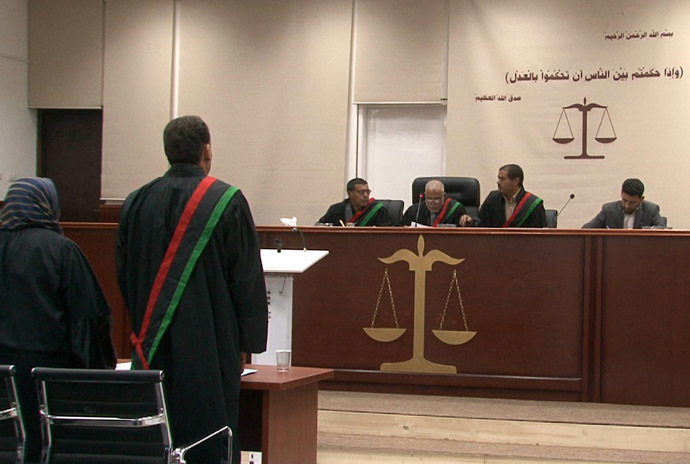A general view shows the courtroom during the trial of Seif al-Islam (unseen), son of Libya's late dictator Muammar Gaddafi, for illegally trying to communicate with the outside world in June last year, on May 2, 2013 in Libya's northwestern town of Zintan. (AFP Photo)