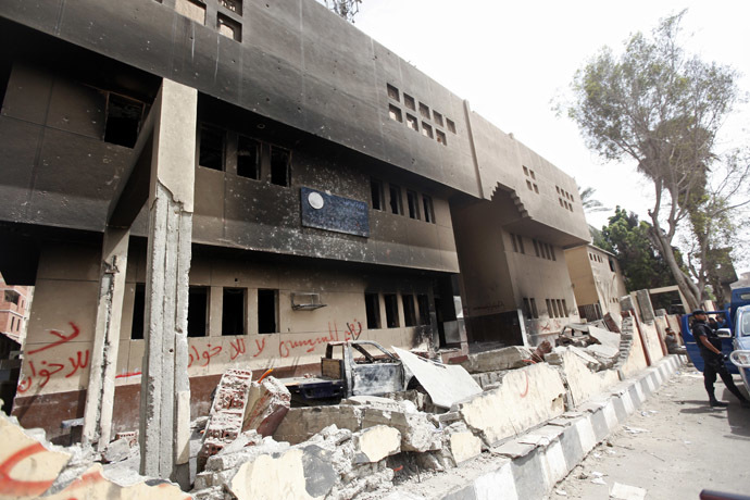 A view shows a damaged police station burnt in a blaze last month by supporters of former president Mohamed Mursi in Kerdasa, a town 14 km (9 miles) from Cairo September 19, 2013. (Reuters/Mohamed Abd El Ghany)