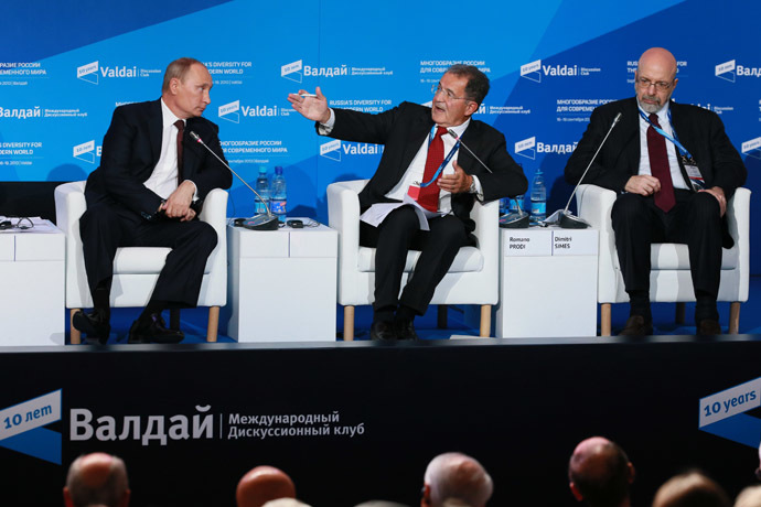 From left: Russian President Vladimir Putin, former Italian Prime Minister Romano Prodi and the National Interest publisher, Richard Nixon Center President Dimitri Simes attending the tenth anniversary meeting of Valdai International Discussion Club in the Novgorod Region, September 19, 2013. (RIA Novosti/Anton Denisov)
