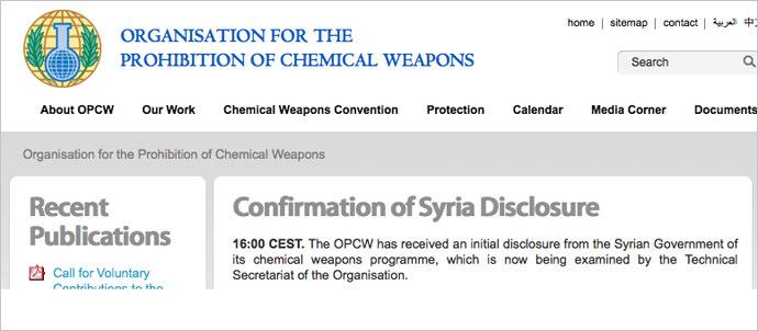 Screenshot from ww.opcw.org