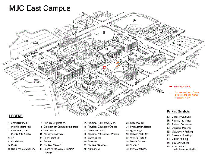 "FIRE has published a map of the Modesto campus; the ""Free Speech Area"" is circled in orange."